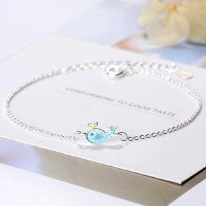 NEW 925 Sterling Silver Blue Whale Bracelet